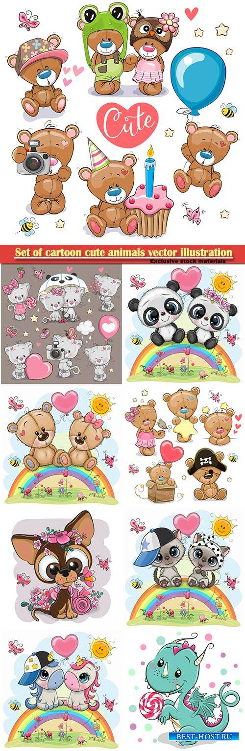 Set of cartoon cute animals vector illustration