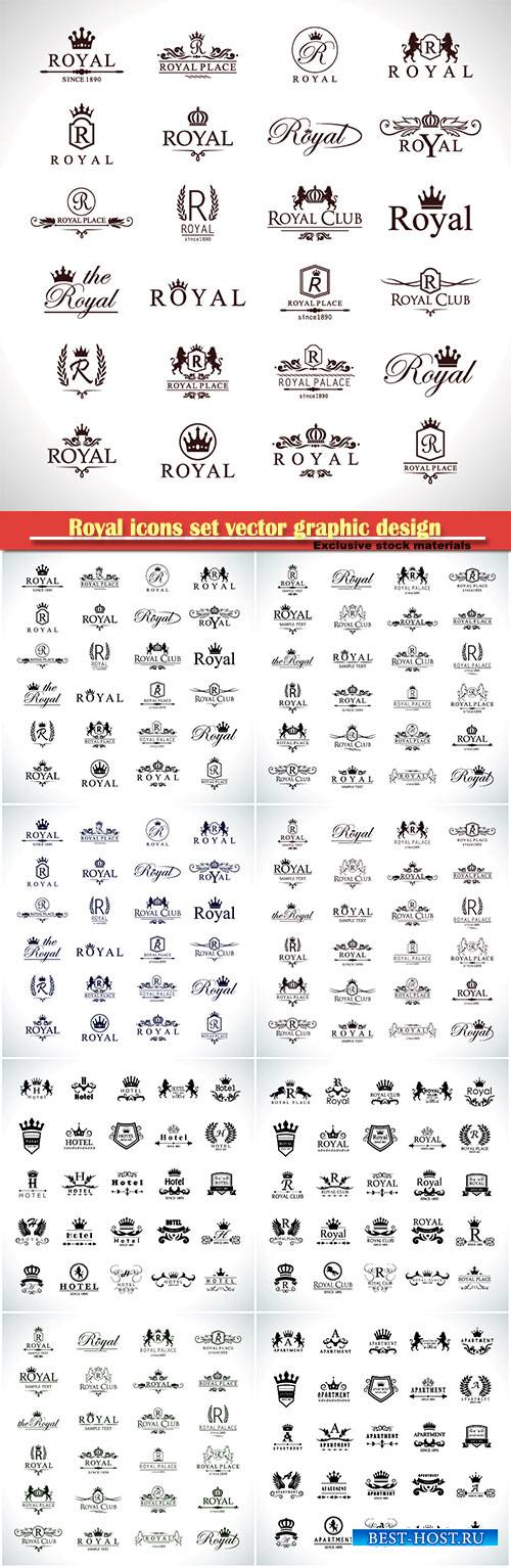 Royal icons set vector graphic design