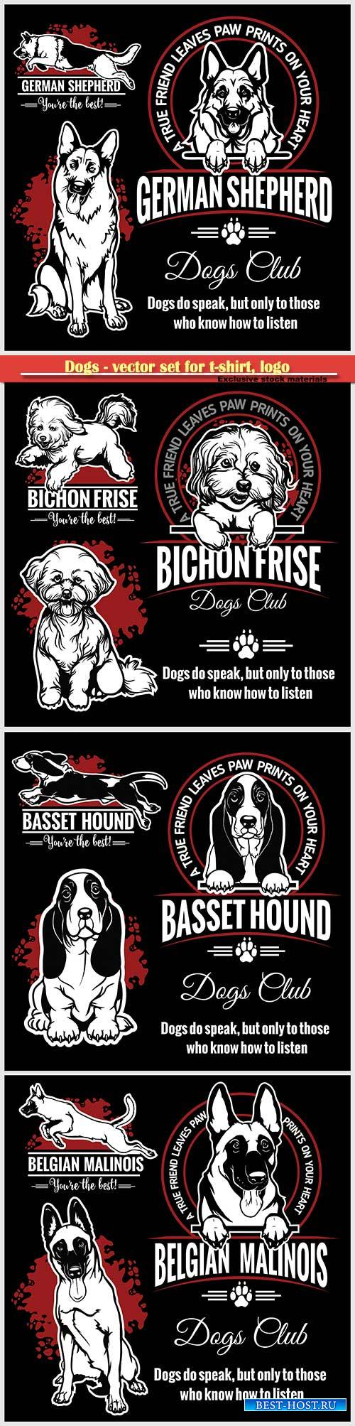 Dogs - vector set for t-shirt, logo and template badges