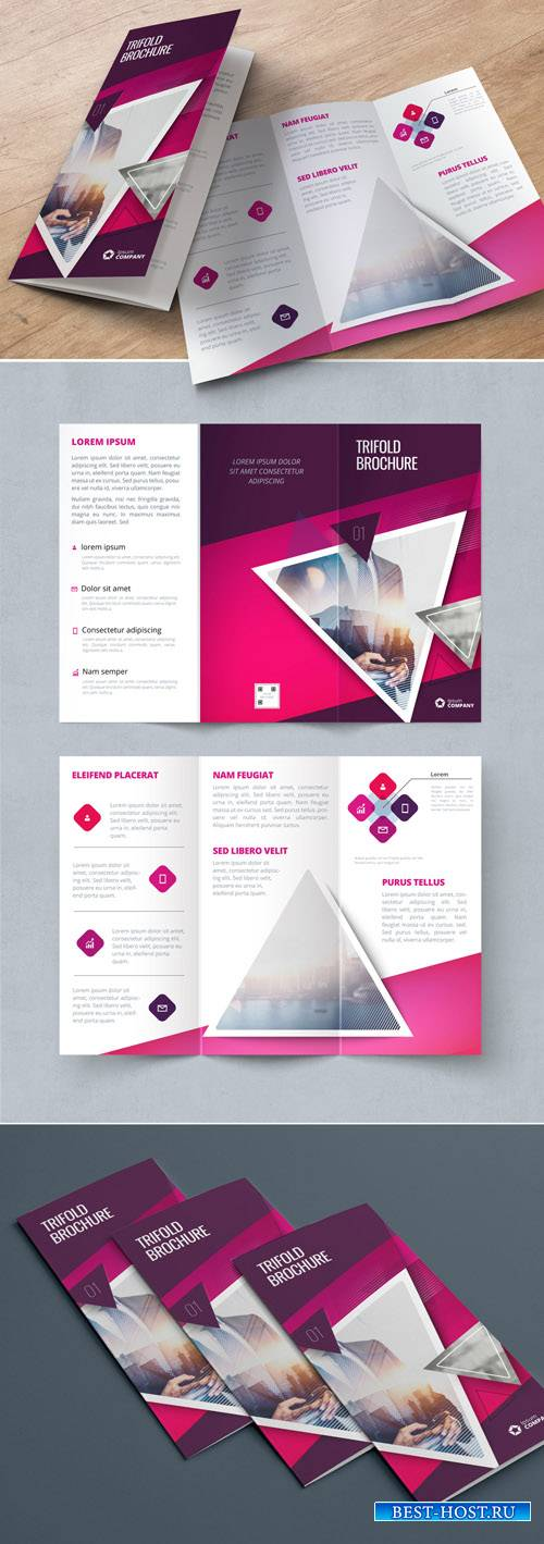 Pink Trifold Brochure Layout with Triangles_267840458