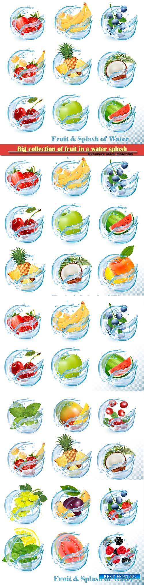 Big collection of fruit in a water splash icons vector set