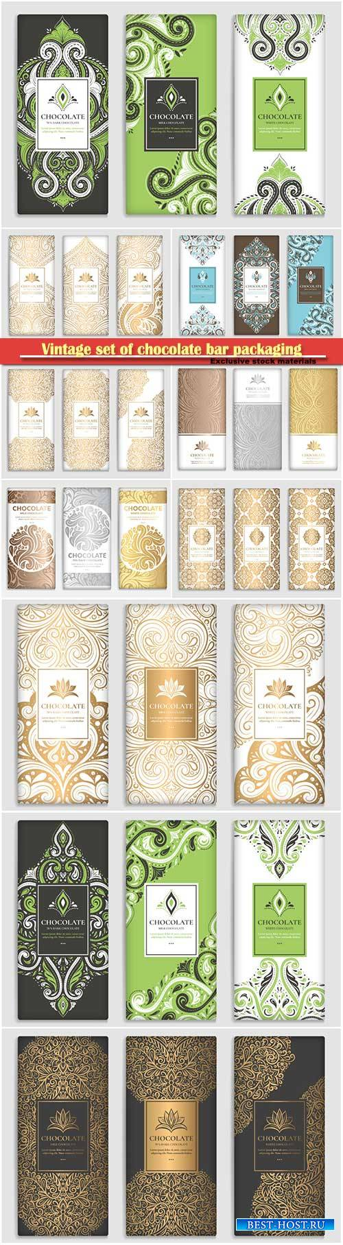 Vintage set of chocolate bar packaging design, vector luxury template with  ...