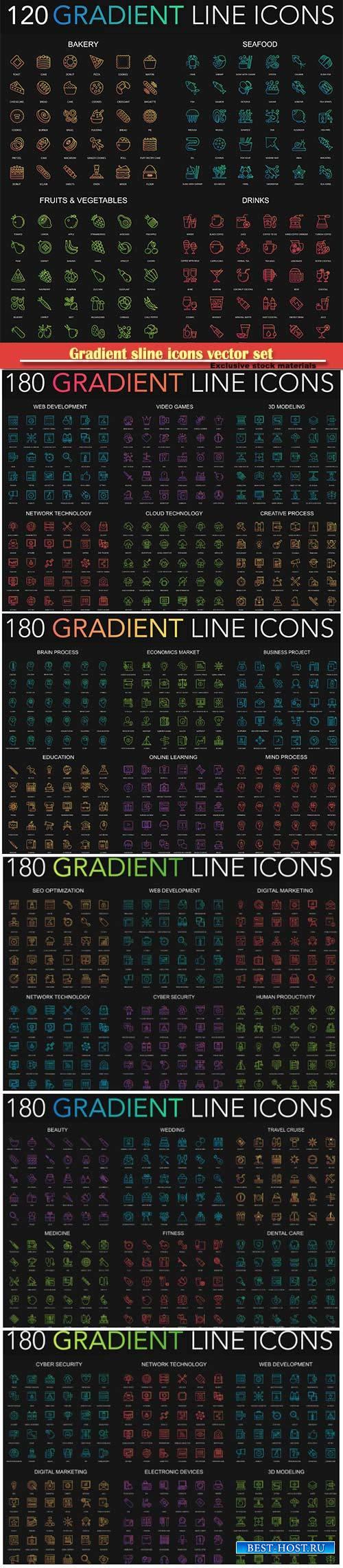 Gradient sline icons vector set