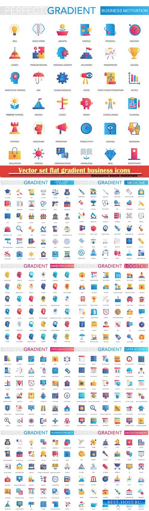 Vector set flat gradient business icons