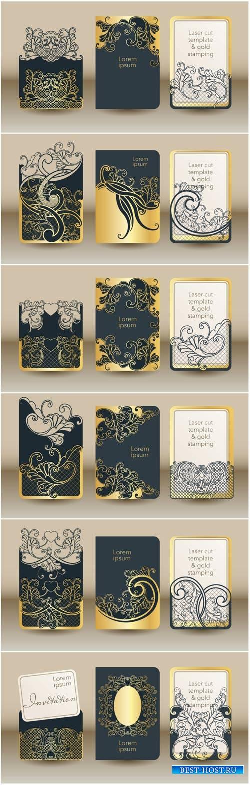 Wedding invitation mock up cover, envelope, pocket for cards
