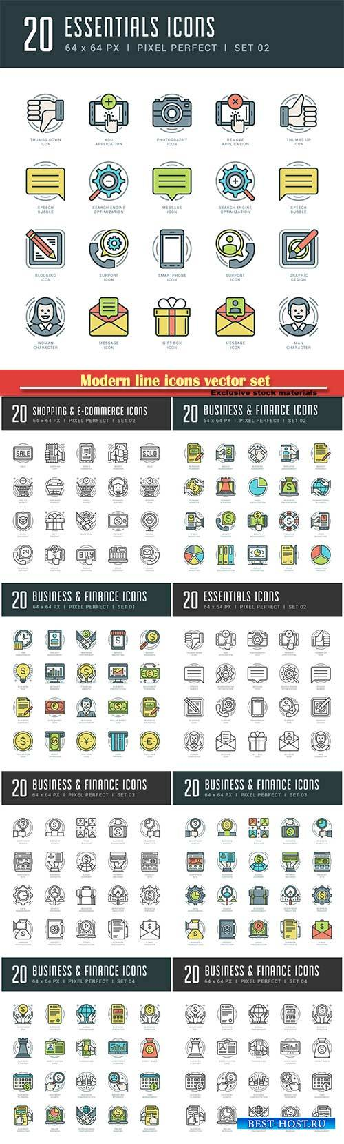 Modern line icons vector set