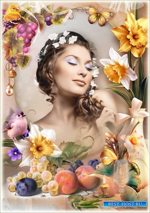 Рамка для Фотошопа - Натюрморт с персиками