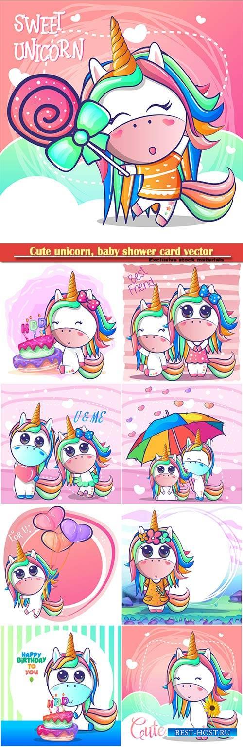 Cute unicorn, baby shower card vector illustration
