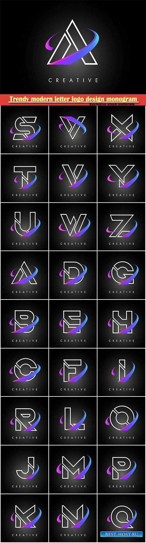 Trendy modern letter logo design monogram and creative swoosh