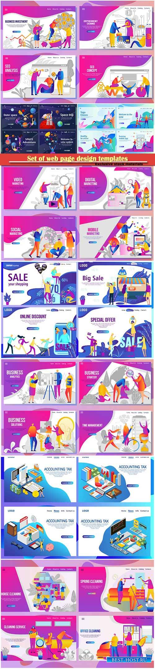 Set of web page design templates for business, vector illustration concepts ...