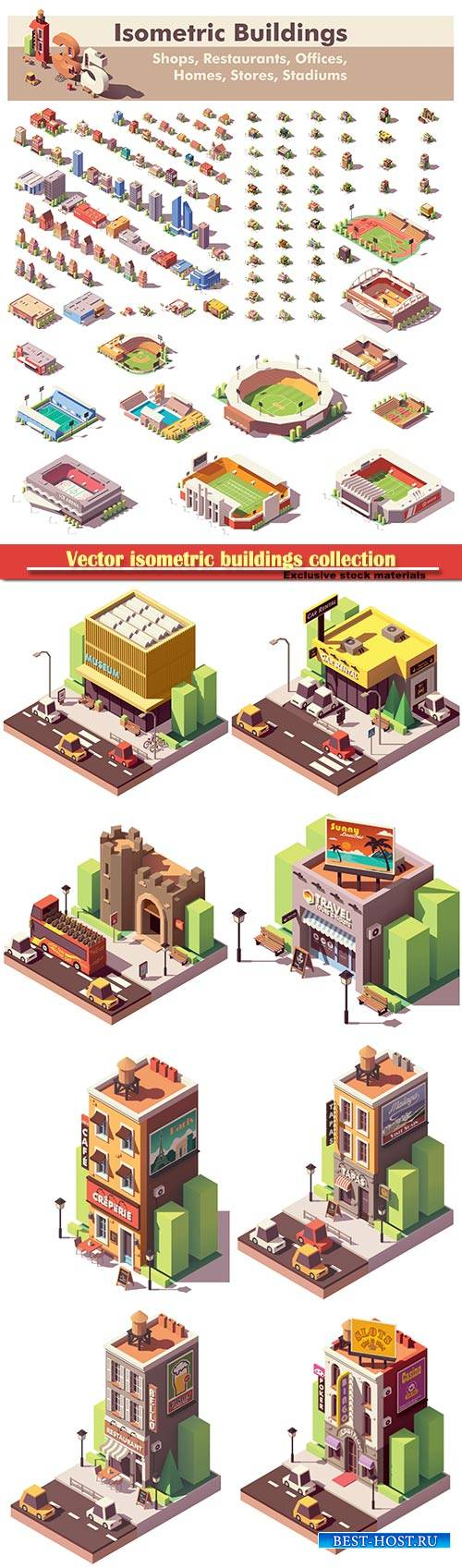 Vector isometric buildings collection, includes homes, offices, stadiums, s ...