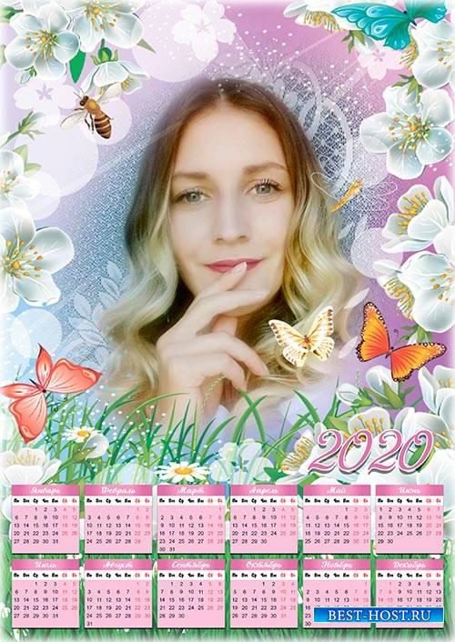 Календарь-рамка на 2019, 2020 год - Летняя  цветочная полянка