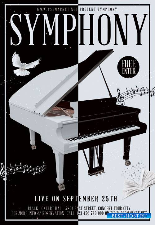 Symphony music - Premium flyer psd template