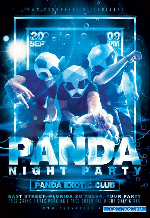 Panda party - Premium flyer psd template