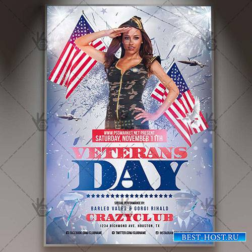 Veterans day - Premium flyer psd template