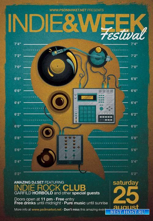 Indie week festival - Premium flyer psd template