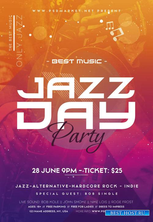 Jazz day party - Premium flyer psd template