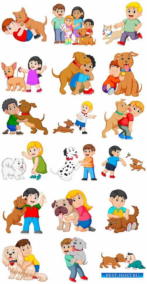 Дети и собака - Векторный клипарт / Children and dog - Vector Graphics