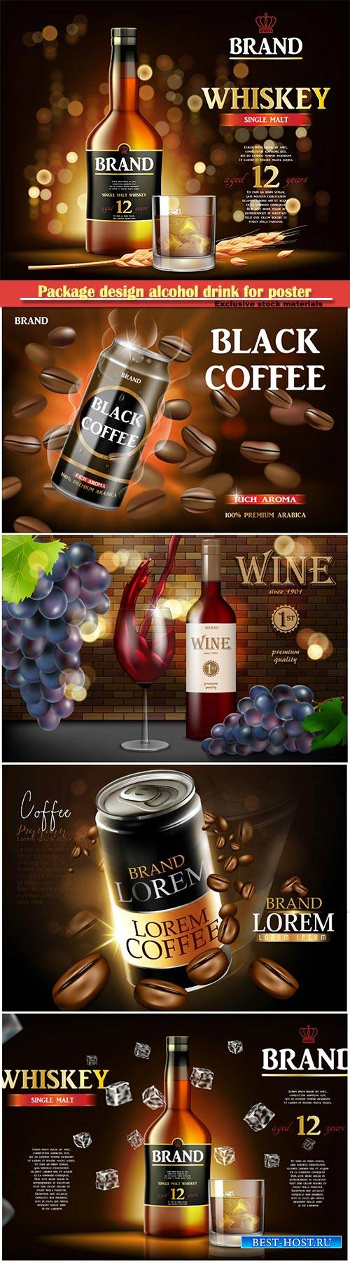 Package design alcohol drink for poster or banner, realistic mockup vector  ...