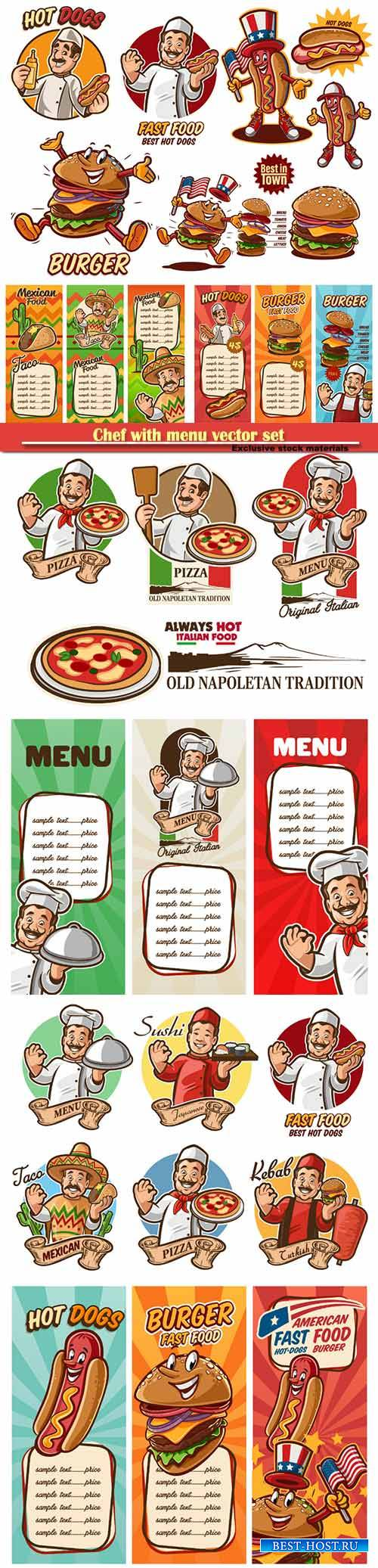 Chef with menu vector set, chef italian, mexican, arab, american, japanese, ...