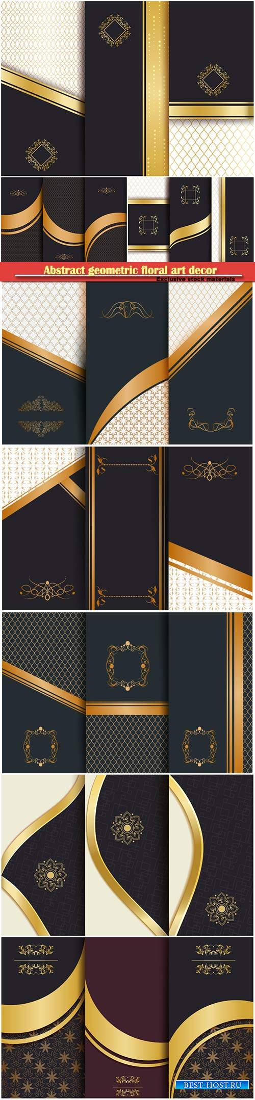 Abstract geometric floral art decor golden background template for menu car ...