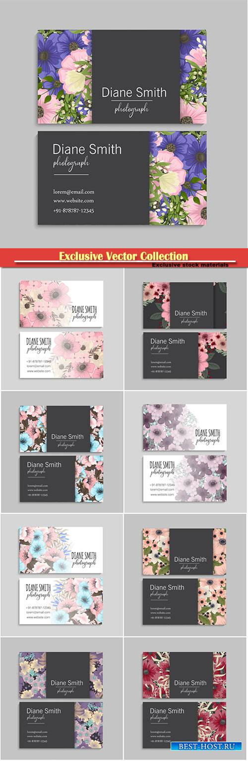 Vector business cards with flowers