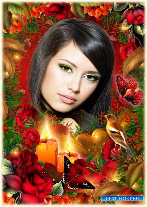 Рамка для Фотошопа - Осенние розы