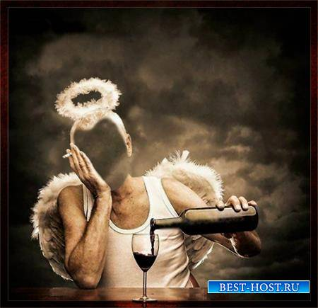 Фотошаблон женский - Пьющий ангел