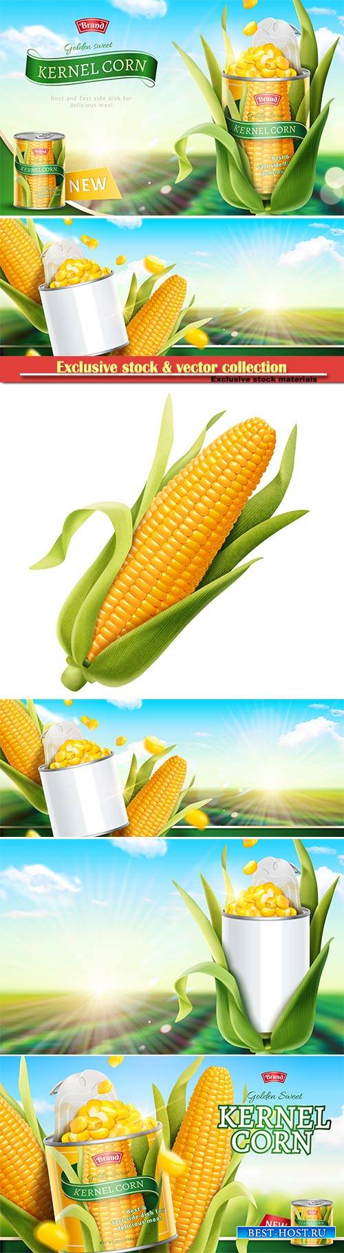 Premium kernel corn can ads in 3d vector illustration