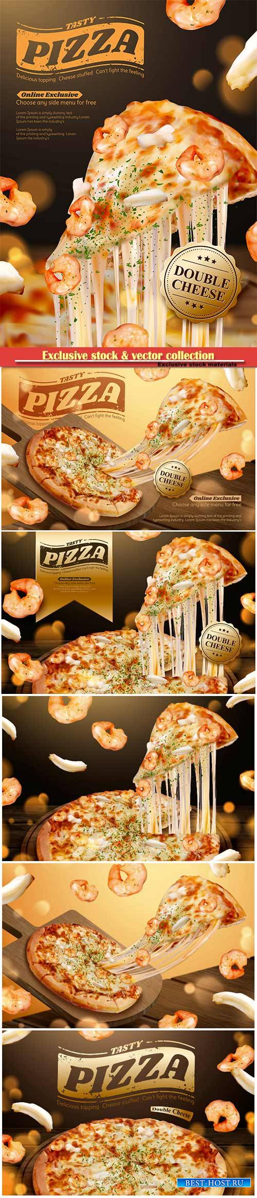 Tasty seafood pizza ads with stringy cheese in 3d illustration, shrimp and  ...