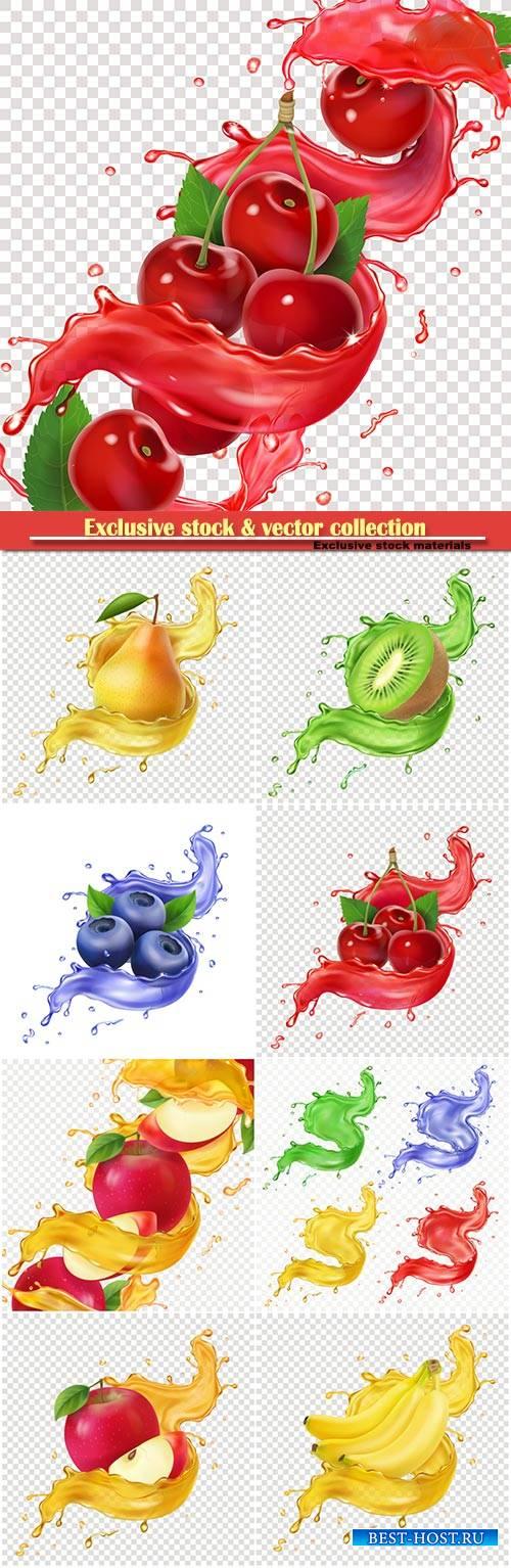Fresh juice splash for advertising, 3d realistic vector illustration for pa ...
