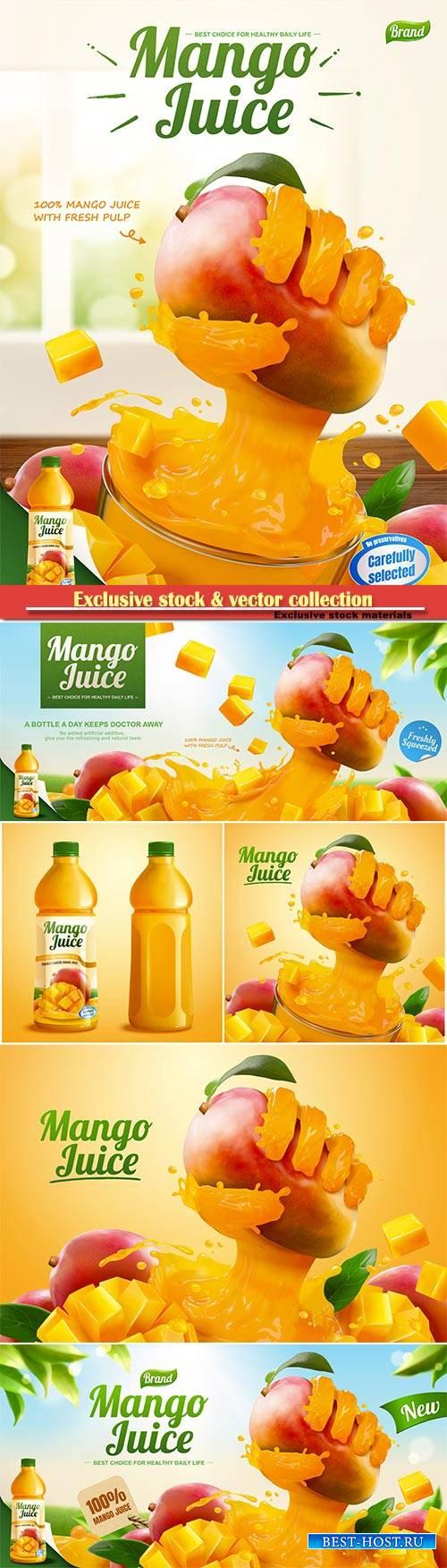 Mango juice banner ads with liquid hand grabbing fruit effect in 3d vector  ...