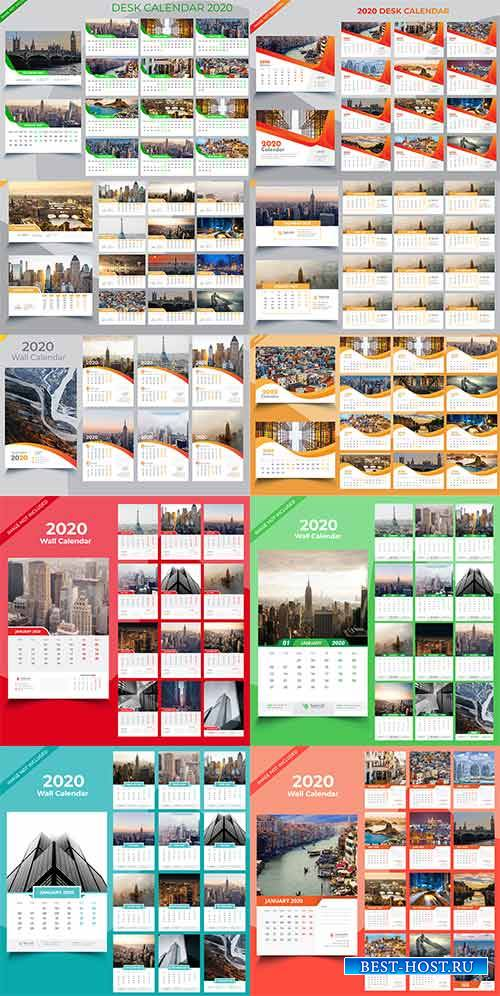 Календари на 2020 год в векторе / Calendars for 2020 in vector