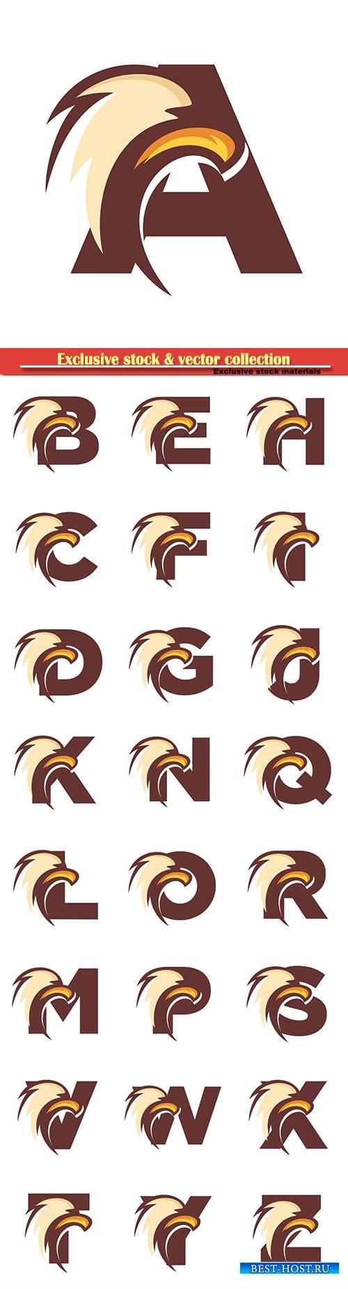 Eagle font vector alphabet illustration