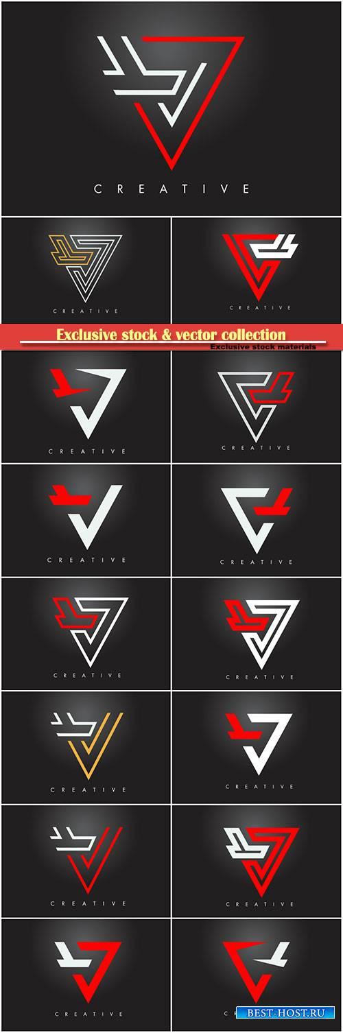 V letter monogram design logo