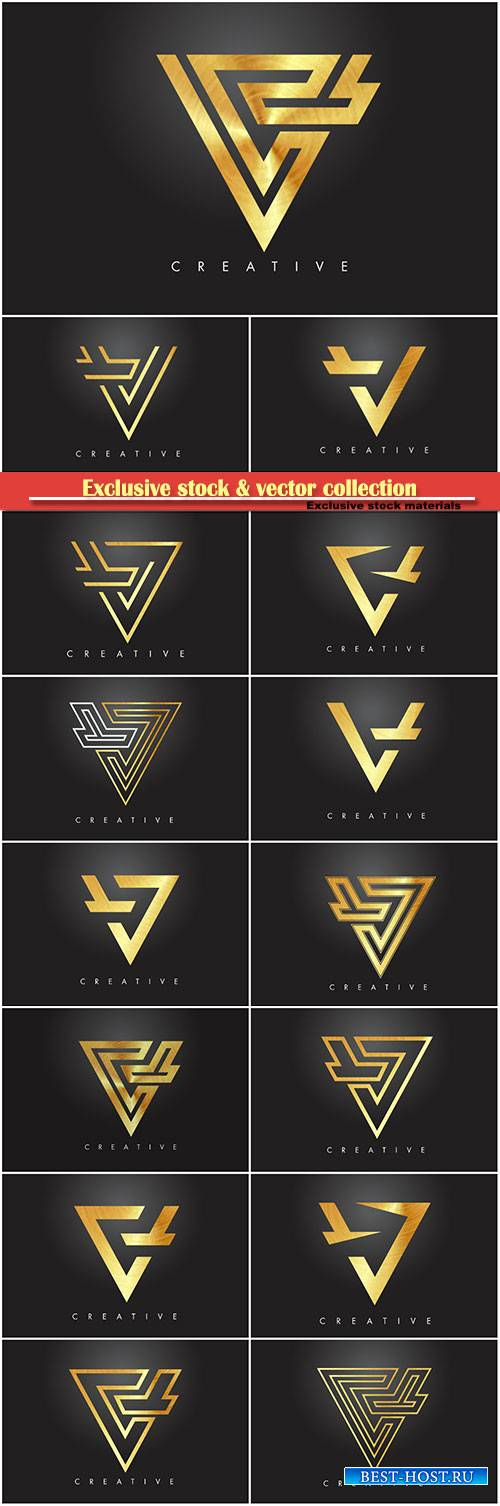 V golden letter monogram design logo