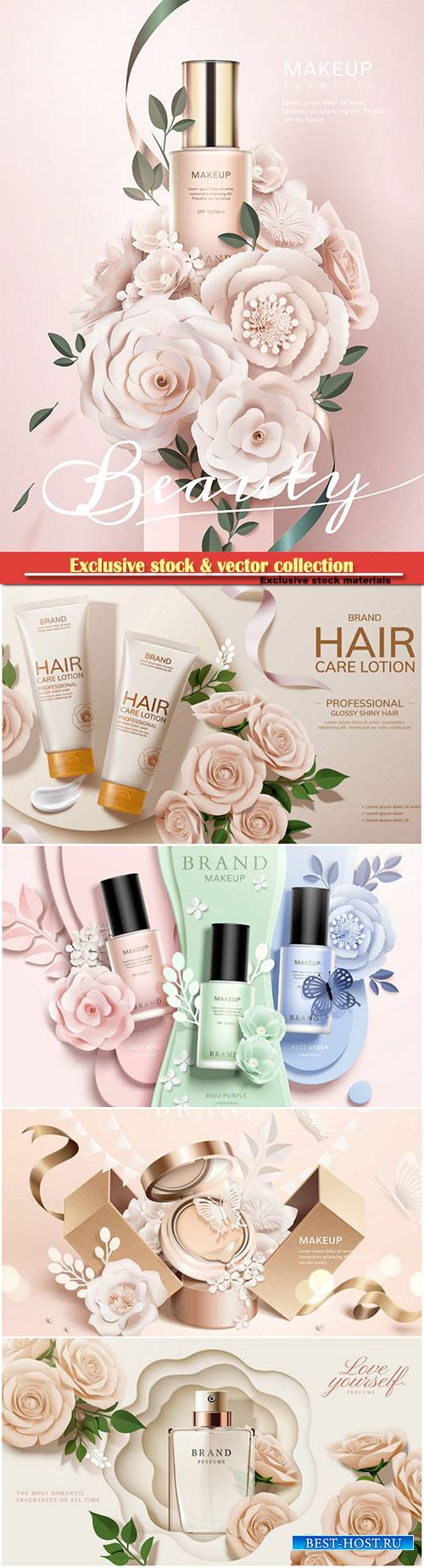 Cosmetic set ads with paper flowers in 3d illustration # 2