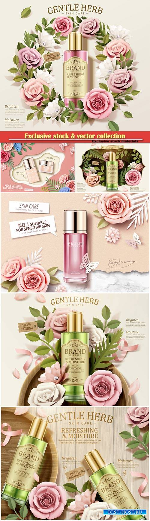 Gentle herb toner ads with paper flowers in 3d illustration, top view