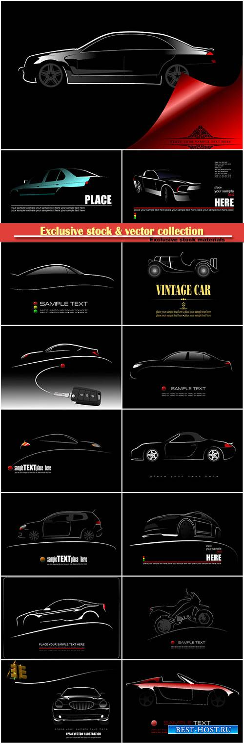 Silhouette of car on black background, vector logo illustration