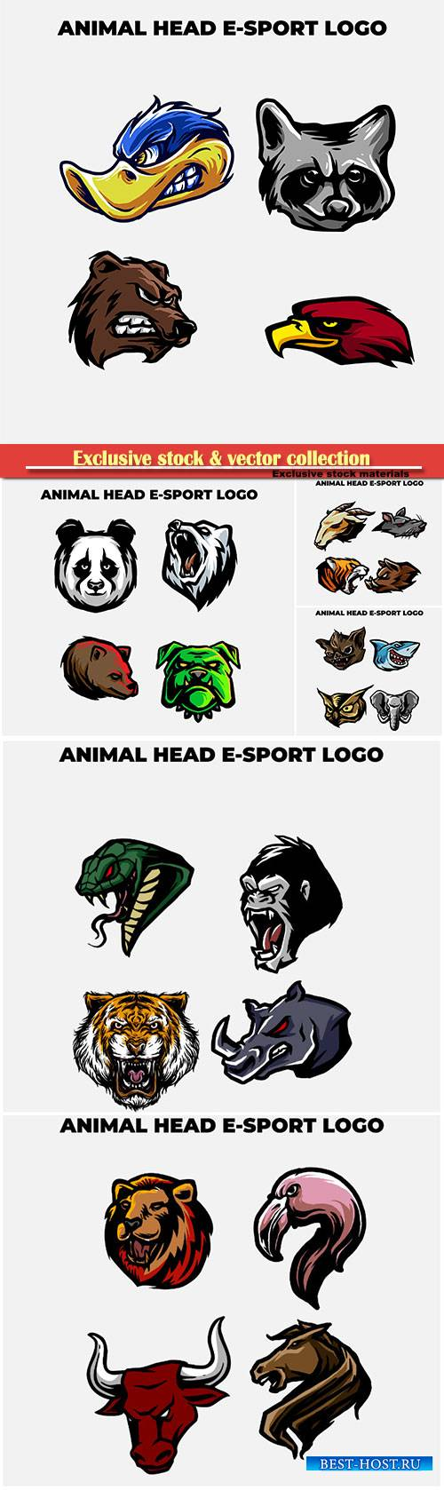 Animal head mascot logo vector