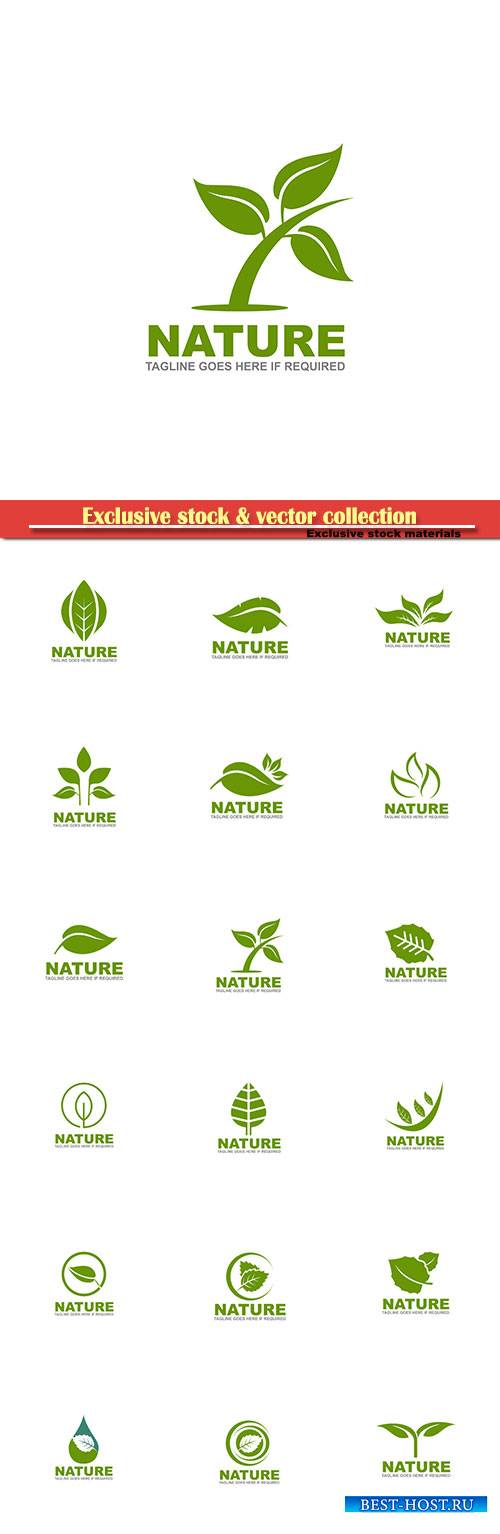 Nature logo vector template set