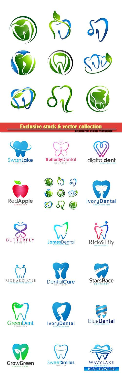 Tooth logo set Dental medical healthcare concept design