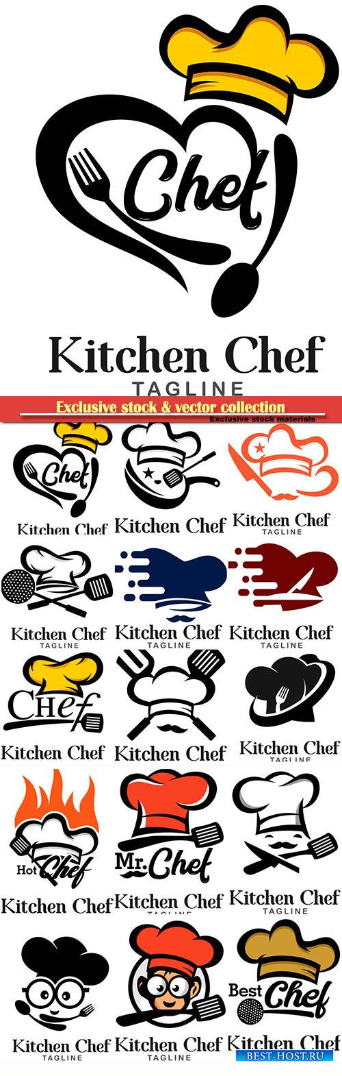 Kitchen chef logos in vector