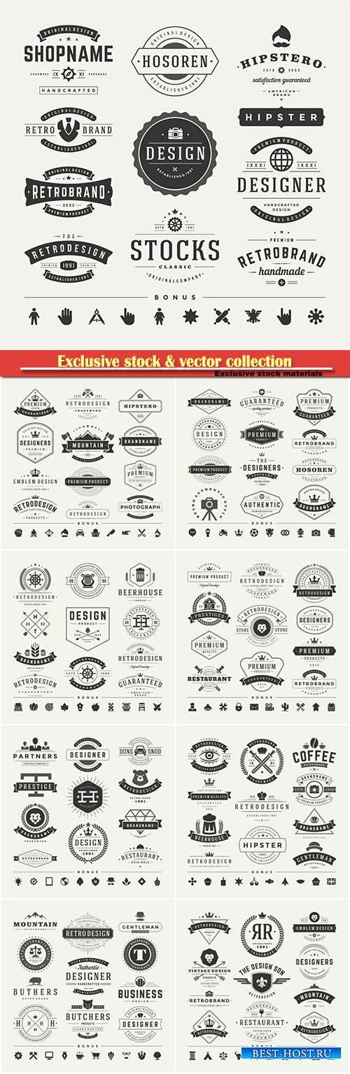 Vintage insignias or logos set, vector design elements, business signs