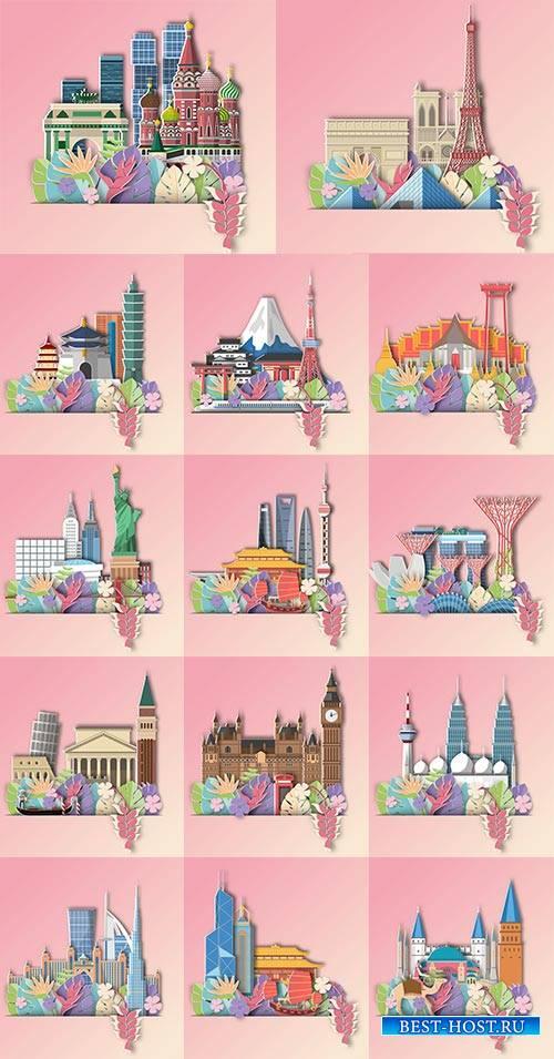 Столицы мира - Векторный клипарт / Capitals of the world - Vector Graphics