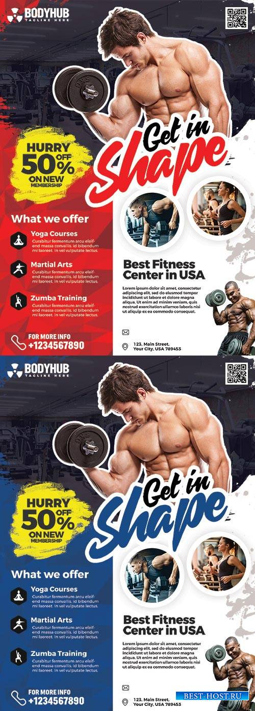 Gym and Fitness Studio Flyer PSD