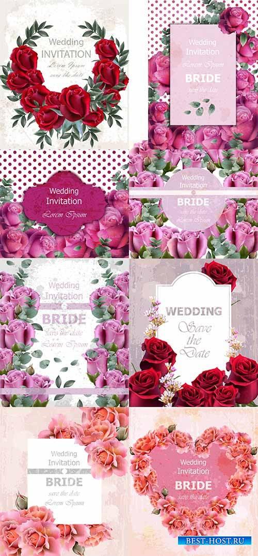 Приглашения - Векторный клипарт / Invitations - Vector Graphics