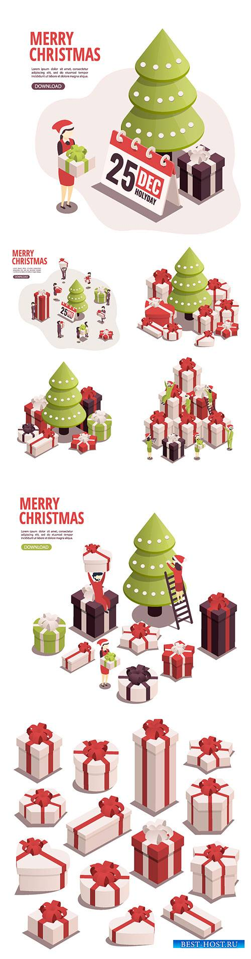 Isometric illustration for christmas and new year