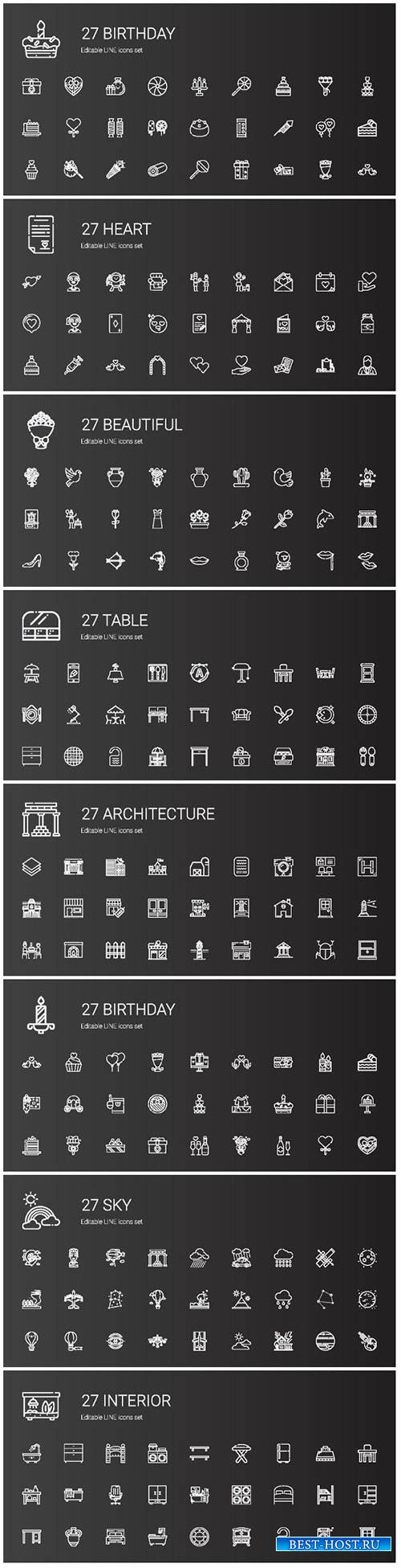 Icons set concept vector illustration