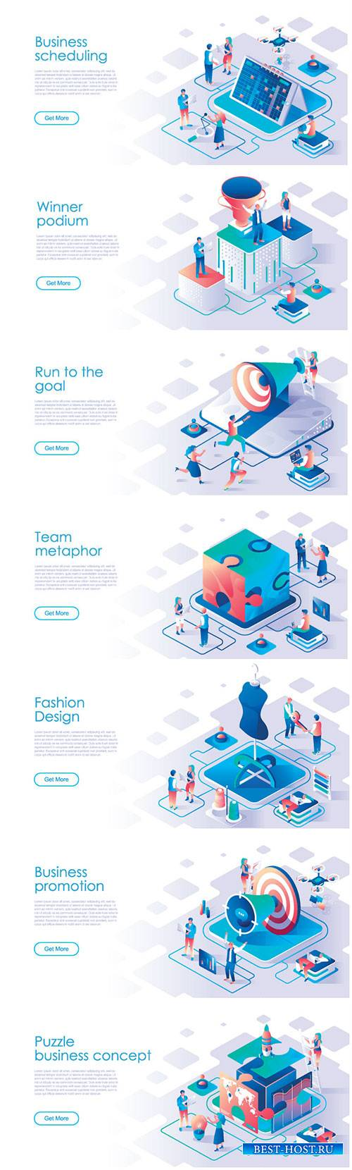 Business scheduling isometric landing page vector template # 2